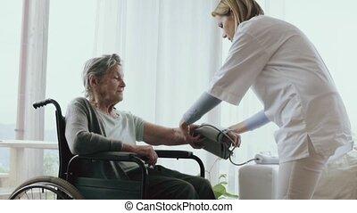 femme, visiteur, visit., santé, maison, pendant, personne agee