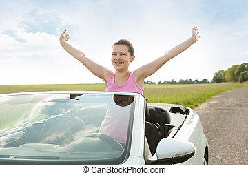 femme voiture, élevant main