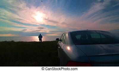 femme, voiture, côte, sien, coucher soleil, mer