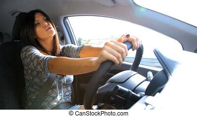 femme, voiture, chant, magnifique, conduite