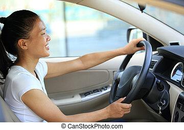 femme voiture, chauffeur, conduite