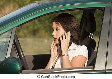 femme voiture, choqué