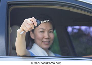 femme voiture, clã©