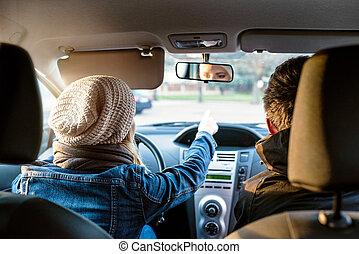 femme voiture, conduite