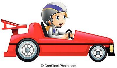 femme voiture, courses, rouges, conduite
