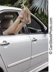 femme voiture, délassant, elle