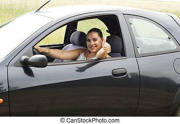 femme voiture, heureux