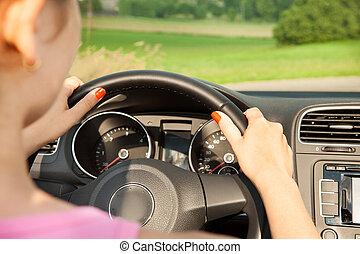 femme voiture, jeune