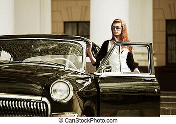 femme voiture, jeune, retro