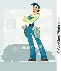 femme voiture, mécanicien