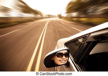 femme voiture, route, jeune, conduite