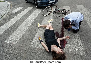 femme voiture, tué