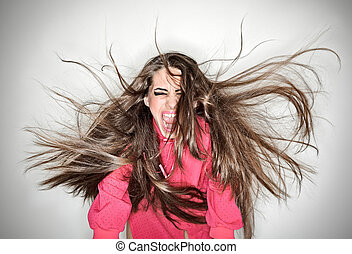 femme, voler, cheveux, anneau, flash, long, brunette, studio, furieux, portrait, blanc, crier, agressif