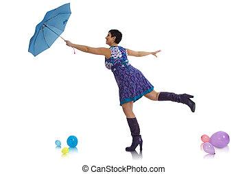 femme, voler, parapluie