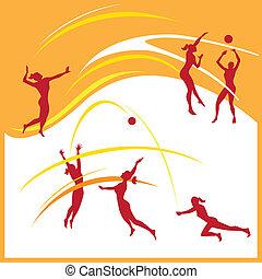 femme, volley-ball, vecteur
