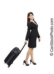 femme, voyager, business, valise