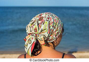 femme, vue, plage, arrière