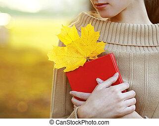femme, wa, saison, gens, concept., automne, livre, lecture