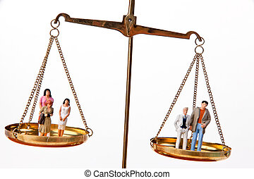 femme, waage.symbol, homme, égal