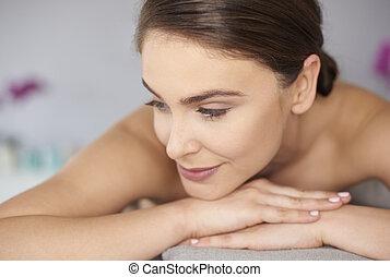 femme, waitting, délassant, masage