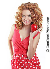 femme, wellness., pomme, isolé, séduisant, fond, portrait, sourire, blanc rouge