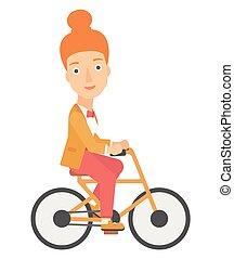 femme, work., cyclisme