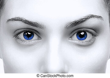 femme, yeux bleus