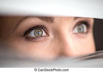 femme, yeux, jeter coup oeil, par, jalousie., abat-jour, regarder, beau