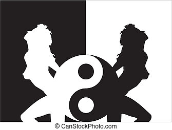 femme, ying, silhouette, yang