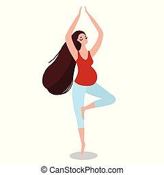 femme, yoga, asana, pregnant