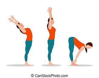 femme, yoga, collection, vecteur, illustration, ensemble