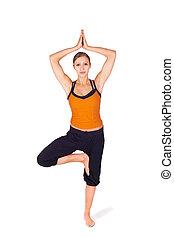 femme, yoga, crise, pose, arbre, séduisant, pratiquer