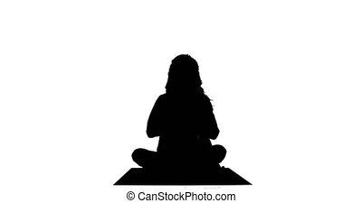femme, yoga, crise, silhouette
