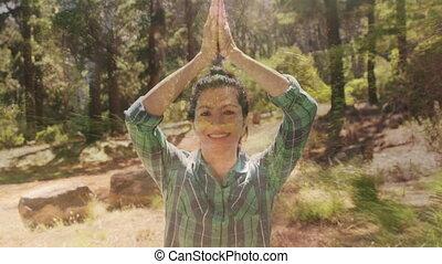 femme, yoga, désert