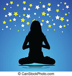 femme, yoga, illustration