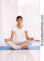 femme, yoga, indien, exercice, jeune