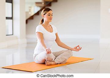 femme, yoga, jeune, exercice