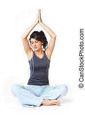 femme, yoga, jeune