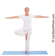 femme, yoga, mûrir, caucasien blanc, exercice