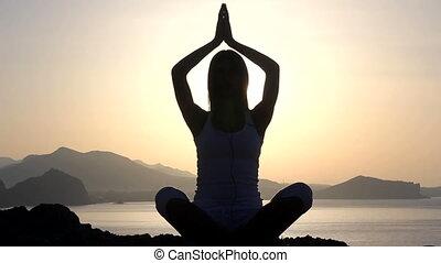 femme, yoga, nature