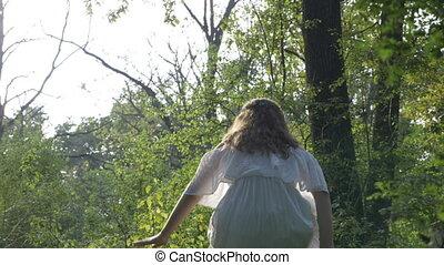 femme, yoga, nature, lotus, séance, contempler, extérieur, position