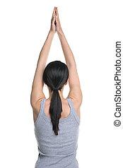 femme, yoga, vue postérieure