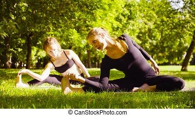 femme, yoga, yoga., parc, deux, séduisant, exersices