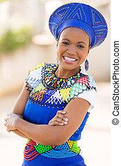 femme, zoulou, dehors, jeune, africaine, portrait, sud