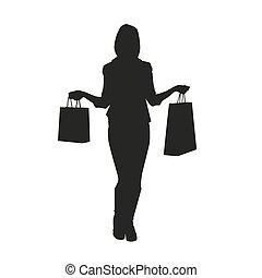 femmes, à, achats, bags., vecteur, silhouette