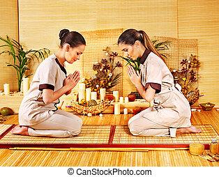 femmes, à, bambou, spa, .