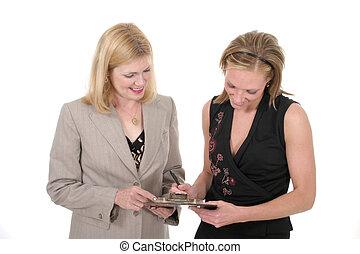 femmes, 2, deux, equipe affaires