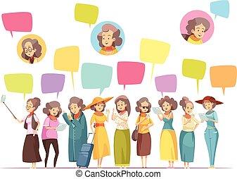 femmes aînées, composition, dessin animé, ligne