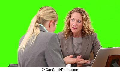 femmes affaires, avoir, réunion, deux