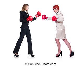 femmes affaires, blanc, boxe, isolé, deux